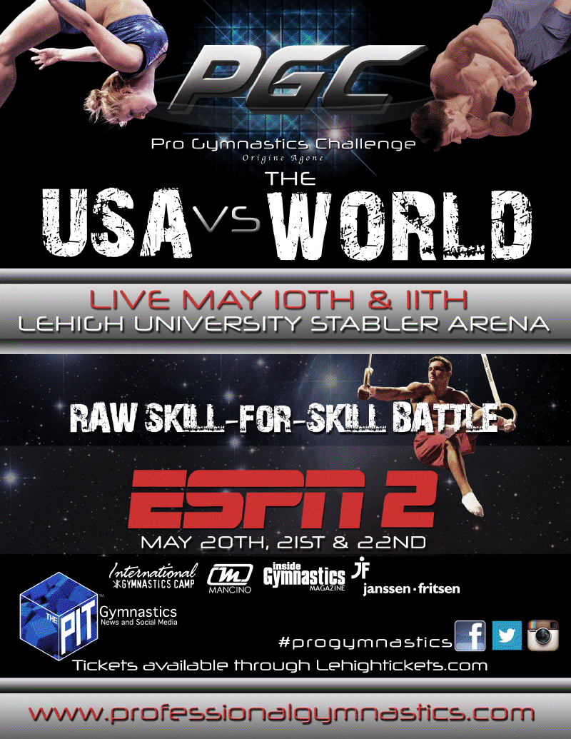 USA vs. The World in Pro Gymnastics Challenge.  Want to see it LIVE?
